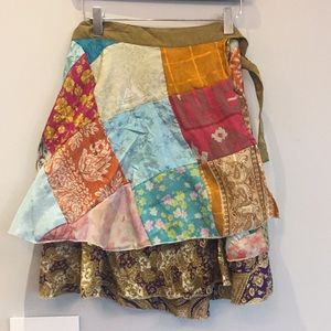 NWOT - Patchwork scarf wrap skirt - one size